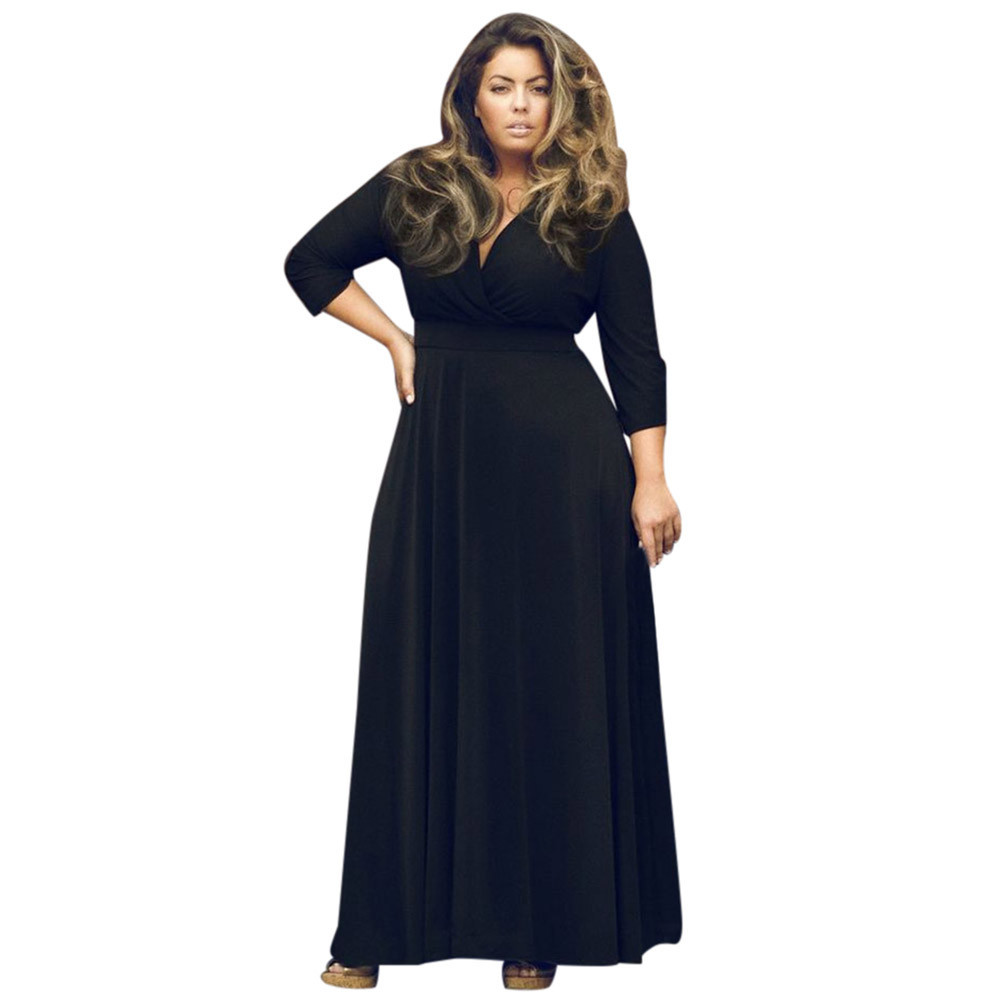 Plus Size Womens Dress Long V Neck Maxi Evening Ball Prom Gown -in ...